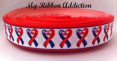 CHD Ribbon CHD Awareness Heart Disease by MyRibbonAddiction Chd Awareness, Awareness Ribbons, Heart Month, Congenital Heart Defect, Blue Ribbon, Heart Disease, Grosgrain Ribbon, To My Daughter, Hearts