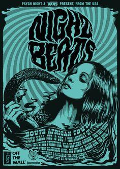 Psych Night & Vans Present: NIGHT BEATS SA TOUR by One Horse Town Illustration Studio, via Behance