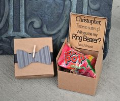 Ring POP ~ Will You Be My Ring Bearer Bow Tie Boxed Invite Time To Suit Up Rustic POP the Question Bowtie