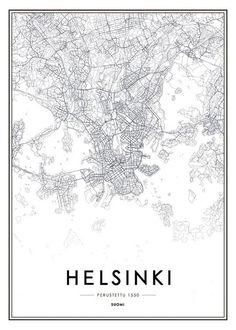 Kuva Helsingin kartta ja julisteita kaupunkien verkossa