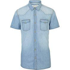 Light wash western short sleeve denim shirt