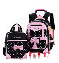 116b786874 Meetbelify Rolling Backpacks For Girls School Bags Trolley Handbag With  Lunch Bag Review Girls Rolling Backpack