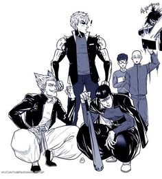 One Punch Man - Metal Bat, Genos and Garou + Sonic and Mumen Rider&Saitama-sensei