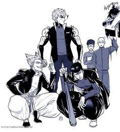 One Punch Man - Metal Bat, Genos and Garou + Sonic and Mumen Rider&Saitama-sensei