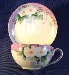 Nippon-Pink-And-White-Tea-Cup-And-Saucer-Hand-Painted-With-Gilding-And-Moriage