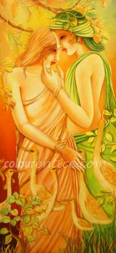 """Radha & Krishna"" is one of the finest Artwork by Artist Mohini Biswas http://www.colourentice.com/products/radha-krishna-2 Medium: Acrylic & Size: 25"" X 55"" #Art #Paintings #IndianArt #Artwork"
