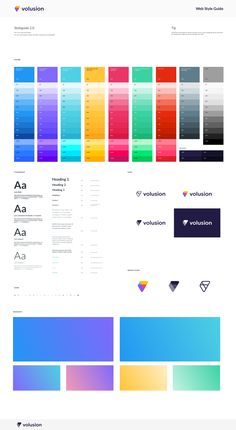 Style guide featuring gradient shades for colors. App Ui Design, Dashboard Design, Interface Design, Identity Design, Brochure Design, Identity Branding, Corporate Identity, Visual Identity, Design Design