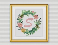 BOGO FREE! Succulent Wreath Cross Stitch Pattern, Floral Letter Wreath Flower Counted xStitch Cactus Modern Decor, Instant Download #046-2-5 by StitchLine on Etsy