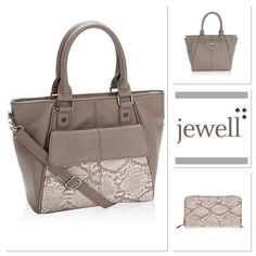 """Jewell by THIRTY-ONE  Bag and Wallet Set The mini diamond district bag in putty snake print. Cross body strap is not included. It has a hidden exterior cell phone pocket and a zipper closure to keep all your essentials safe from spills. Size: Approx. 9.375""""H x 9.5""""L x 3.75""""D.                    All about the Benjamin matching wallet. Fashionable/functional wallet has 13 interior card pockets, an ID window, flat pocket for bills, zipper closure and a D-ring to attach a Wristlet Strap (not…"""