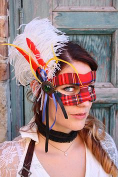 Highland Lass ~ Outlander- inspired wool tartan masquerade ball mask by mask artists Amanda Carroll and Ashley Stubbs