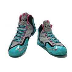 5ef28835e549 Cheap Lebron 11 Grey Pink Green Basketball Shoes