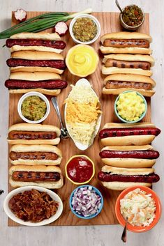 A Hot Dog Charcuterie Board is a great addition to summer cookouts, holidays and game day get togethers. Set up your board with delicious grilled hot dogs and creative toppings for an easy way to serve your guests. Charcuterie Recipes, Charcuterie And Cheese Board, Party Food Platters, Food Trays, Kitchen Recipes, Cooking Recipes, Comida Picnic, Hot Dog Toppings, Best Macaroni Salad