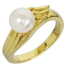 MIKIMOTO 18K Yellow Gold 6.8 mm Pearl Design Ring US Size 8.5