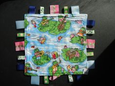 """Frog Taggie Blanket size 10""""x10"""" Square by Marshaslilcraftpatch on Etsy"""