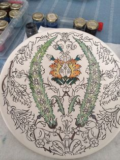 By Esra Uysal 2015 Turkish Design, Turkish Art, Islamic Art Pattern, Pattern Art, Stencil Designs, Tile Art, Ceramic Plates, Colouring Pages, Arabesque