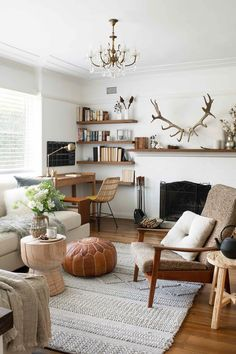 Earthy and eclectic living room in a Federation Sydney home Earthy Living Room, Cottage Living Rooms, Eclectic Living Room, Cottage Homes, Living Area, Living Room Decor, Home Decor Bedroom, Brick Look Tile, Australian Homes