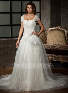 Ball-Gown Sweetheart Chapel Train Organza Wedding Dress With Ruffle Beading Appliques Lace Sequins (002011536) - JJsHouse