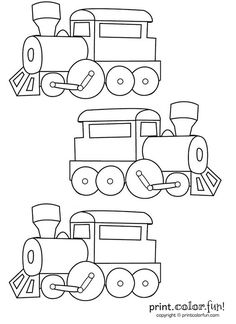 three trains coloring page print
