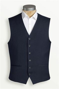 Navy Skinny Fit Suit: Waistcoat