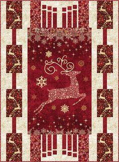 Dazzle Christmas panel quilt pattern with three border designs by Quilts by Jen