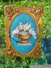 Roman Micromosaic depicting the Plini Doves, set in a brass frame with a miniature