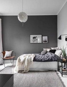 Comfy Minimalist Bedroom Design and Decor Ideas. minimalist bedroom diy Click image to read more details. Grey Bedroom Colors, Grey Bedroom Paint, Grey Room, Master Bedroom Design, Grey Bedrooms, Gray Paint, Dark Gray Bedroom, Bedroom Designs, Gray Bedroom Decor