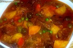 My special beef kaldereta recipe–chunks of stewing beef sauteed in olive oil with plenty of chopped garlic, onions and tomatoes then slow cooked in a little water until fork tender. The sauce is thereafter thickened with mashed cooked liver. Wedges of golden fried potatoes, bells peppers and olives are added just before cooking time is …