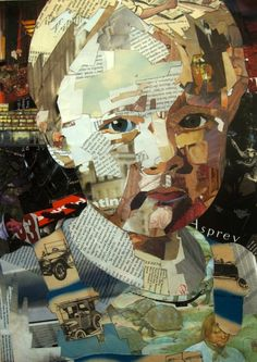 Patrick Bremer's collages are born out of his portrait paintings, each composition carefully constructed using images and text from old magazines and books from second hand shops and car boot sales that reveal something of his subjects personality. The juxtap
