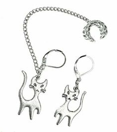 Handmade(1) Ear Cuff Chained to Leverback Earrings w/kitty Charms Earlums, http://www.amazon.com/dp/B00AGR0ABQ/ref=cm_sw_r_pi_dp_zuj4qb16XJ2SW