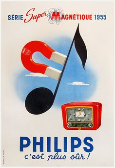 Philips Super Magnetic Radio Series, 1955 French advert