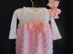 Boutique Pink Minky Chenille Infant  Girls Layette Gown Set Soo Pretty great for coming home outfit. $34.99, via Etsy.