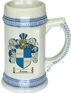 Aaron Coat of Arms / Family Crest tankard stein mug
