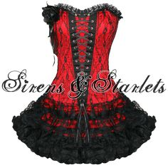 red and black corset dress/ metal show Black Corset Dress, Gothic Dress, Lace Dress, Emo Dresses, Nice Dresses, Sirens, Red And Black Corset, Burlesque Corset, Gothic Fashion