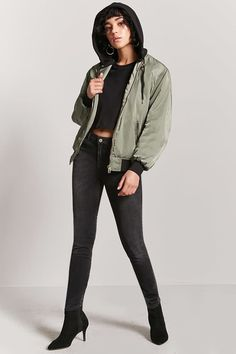 Hooded Bomber Jacket - Women - Outerwear - Bomber - 2000203997 - Forever 21 Canada English