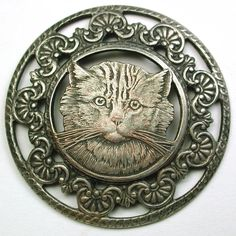 "Old French Metal Button Pretty Tabby Cat w/ Fancy Pierced Border 1  3/4""   SOLD $62.99"