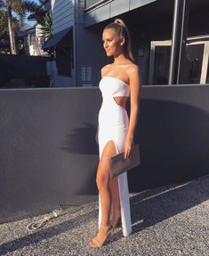 A Line Strapless White Prom Dress with Waist Cutout Grad Dresses, Dance Dresses, Homecoming Dresses, Evening Dresses, Formal Dresses, Party Dresses, Long Dresses, White Ball Dresses, Maxi Dresses