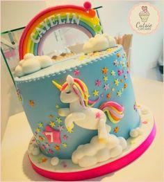 Rainbow Unicorn 🦄💖🌈 – cake by Cutsie Cupcakes – CakesDecor - birthday Cake Ideen Rainbow Birthday, Unicorn Birthday Parties, Birthday Cake, 5th Birthday, Little Pony Cake, Zucchini Cake, Fairy Cakes, Salty Cake, Savoury Cake