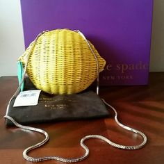 Kate Spade Vita Riva Wicker Lemon Vivid Yellow NWT Kate Spade Wicker Lemon Bag From Her Italy Tour  Around The World Collection. ✔Sold Out Everywhere✔ This was bought at the Kate Spade Specialty Sore and The Tags Are Always Cut Off & Placed Inside The Handbags. Can Be Carried As A Clutch or Shoulder Bag.  A Must Have For The Kate Spade♠Collector! Kate Spade  Bags