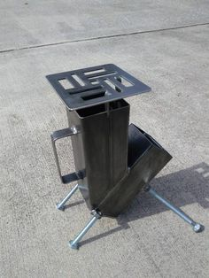 Rocket Stove Self Feeding Gravity Feed Design FREE ash rake image 9 Rocket Stove Design, Diy Rocket Stove, Build A Rocket, Rocket Stoves, Jet Stove, Stove Oven, Wood Burning Camp Stove, Cnc Plasma Table, Welding And Fabrication