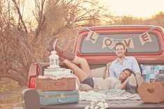 Watch the sun go down from the bed of a pick up truck. <3