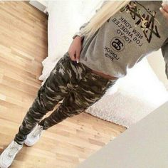 Women's camo army cargo skinny pants (new with tag):amazon:clothing