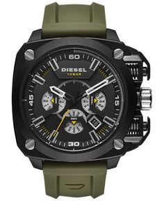 679a554ab500f Diesel Men s Chronograph BAMF Olive Silicone Strap Watch 52x57mm DZ7369  Jewelry   Watches - Watches - Macy s. Relógio ...
