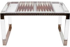 Midcentury Charles Hollis Jones Lucite and nickel backgammon table. Mr. Jones is currently being recognized by the Smithsonian Institution for his pioneering use of acrylic and Lucite. Table appears in Mr. Jones' limited edition book taken in the famous Palm Springs Elrod house. An iconic masterpiece!