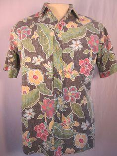 REYN SPOONER Reverse Print Multi-color Floral  Mens Medium  Free Ship #ReynSpooner #Hawaiian
