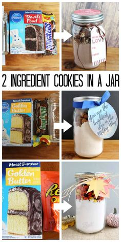 Cookies in a Jar: An Inexpensive Gift Idea Make these cookies in a jar with just 2 ingredients! A quick and easy gift idea for anytime of the year!Make these cookies in a jar with just 2 ingredients! A quick and easy gift idea for anytime of the year! Mason Jar Desserts, Mason Jar Cookies, Cookie Jars, Cookie Mixes, Mason Jar Cookie Mix Recipe, Christmas Jars, Homemade Christmas Gifts, Homemade Food Gifts, Diy Food Gifts