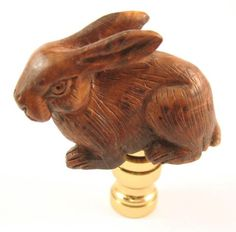 Lamp Finial Carved Wooden Rabbit H6 | eBay