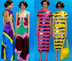 Exciting resort collection at Marc Jacobs. Textile Prints, Textiles, Fashion Colours, Fabric Patterns, Color Blocking, Marc Jacobs, Print Design, Womens Fashion, Fashion Trends
