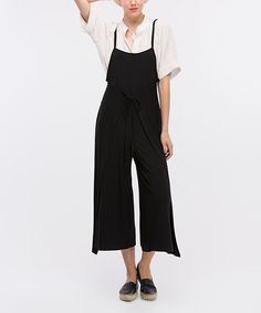 This Black Spaghetti-Strap Wrap Jumpsuit is perfect! #zulilyfinds