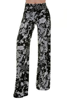 High Waist Fold Over Wide Leg Gaucho Palazzo Pants (Black/White Field) Wide Leg Palazzo Pants, Printed Palazzo Pants, Next Fashion, Fashion Outfits, Gaucho, Leggings Are Not Pants, Women's Pants, Casual Wear, High Waist