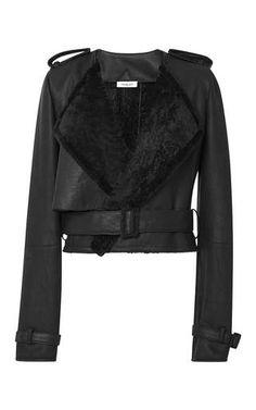 Shearling jacket in forest by MUGLER Preorder Now on Moda Operandi